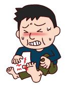 痛風発作で苦しむ男性