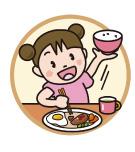 元気に食事している女の子