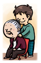 おばあちゃんの肩たたきをする少年