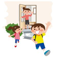 元気に登校する子供たちと見送る親