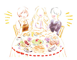 唾液のおかげで食事も楽しい、会話もはずむ!