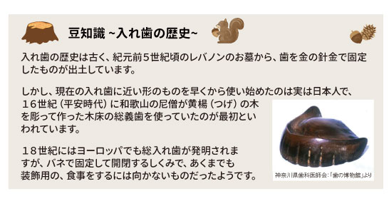 豆知識~入れ歯の歴史~