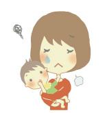 幼児の病気に心配するママ