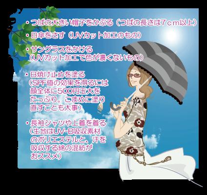 ・つばの大きい帽子をかぶる(つばの長さは7cm以上)・日傘をさす(UVカット加工のもの)・サングラスをかける(UVカット加工で色が濃くないもの)・日焼け止めを塗る(SPF値の効果を得るには顔全体に500円玉大をたっぷりと。こまめに塗り直すことも大事)・長袖シャツや上着を着る(生地はUV-B吸収素材のポリエステルと、汗を吸収する綿の混紡がおすすめ)
